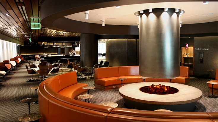 Qantas BA LAX Lounge The fireside looks