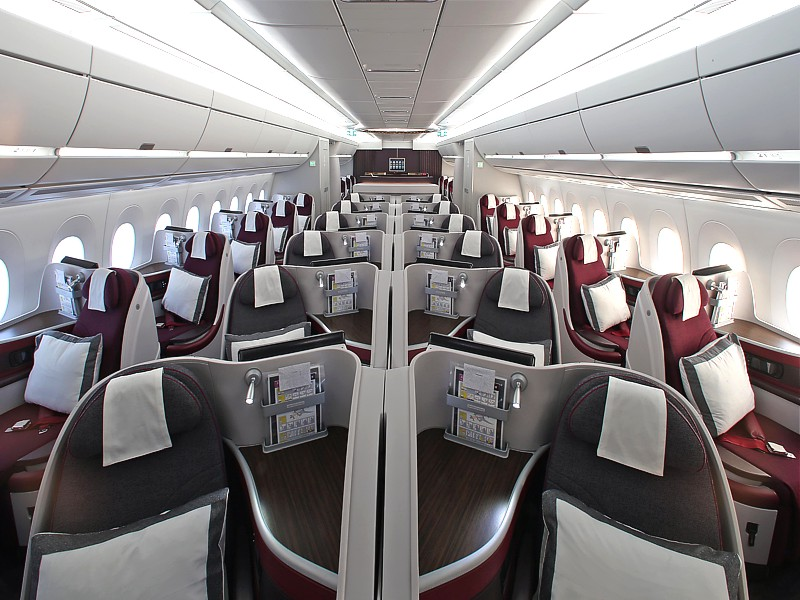 qatar a350 business economy cabin Qatar Airways Business