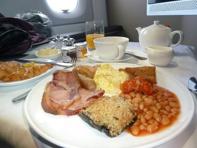 British Airways First Class breakfast meal A380