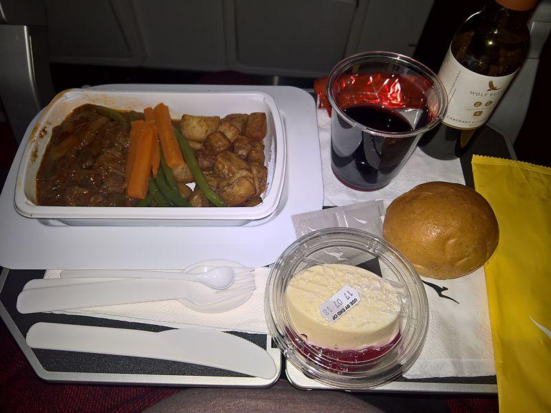 Qantas inflight meal London LHR to Perth June 18