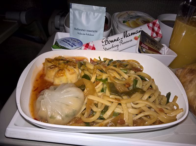 Emirates Airline inflight meal Economy Class DXB-SIN Dec 2017
